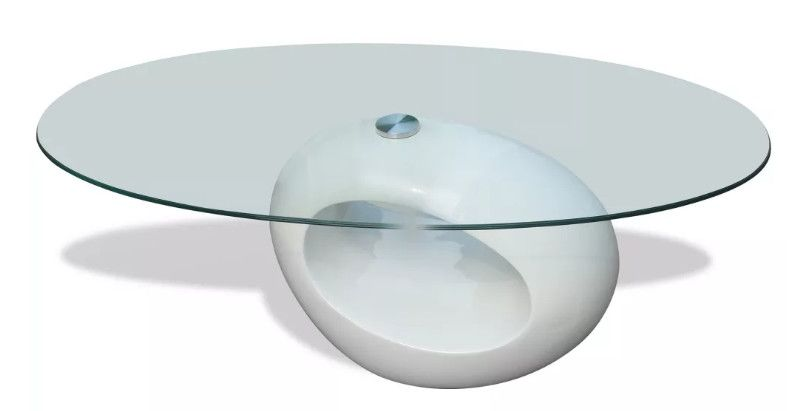 Table Basse Ovale Verre Trempe Et Fibre De Verre Blanc Brillant Ben Lestendances Fr En 2020 Table Basse Ovale Dessus De Table En Verre Table Basse