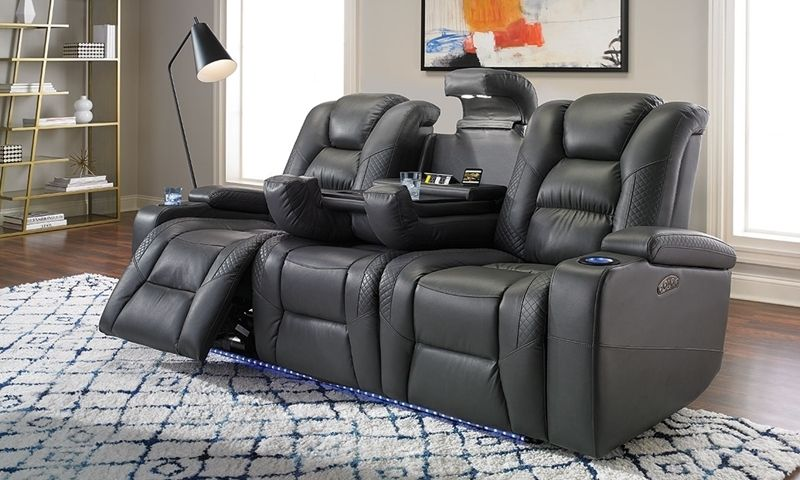 Quilted Power Reclining Theater Sofa With Charging Leds Home