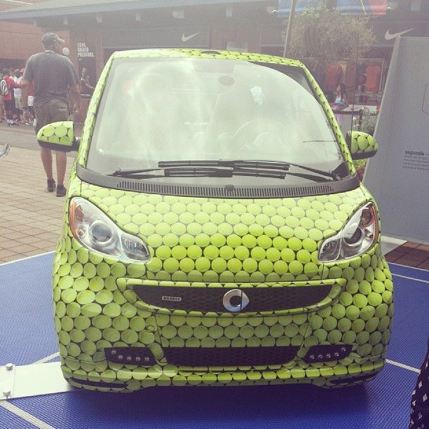 Instagram photo by @Susanne Woods Aurand #smartcar #tennis #fortwo #wrapping