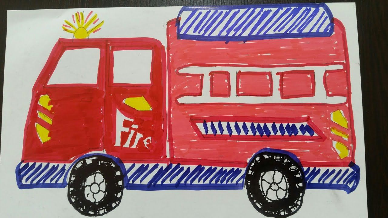 Araba Cizimi Drawing Truck Car Fire Rescue Itfaiye Cizimi Kolay Coloring For Kids Trucks Fire Trucks