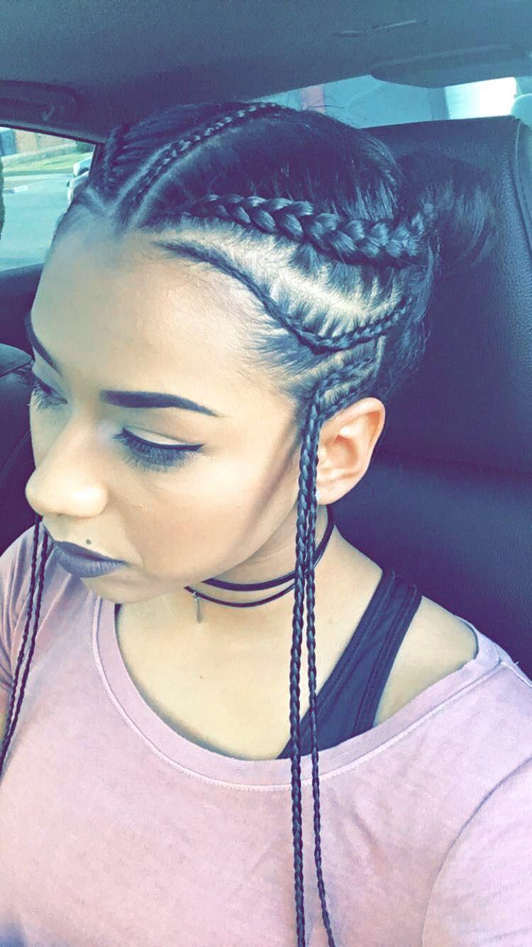 Braids and Buns Hairstyle  trenzas  Pinterest  Bun hairstyle
