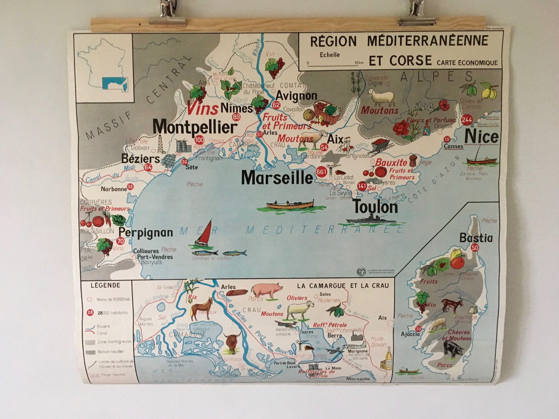 Carte Murale Ancienne D Ecole Geographique France Mediterranee