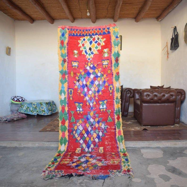 3x8 Moroccan Vintage Boucherouite Rag Rug, Colorful Runner