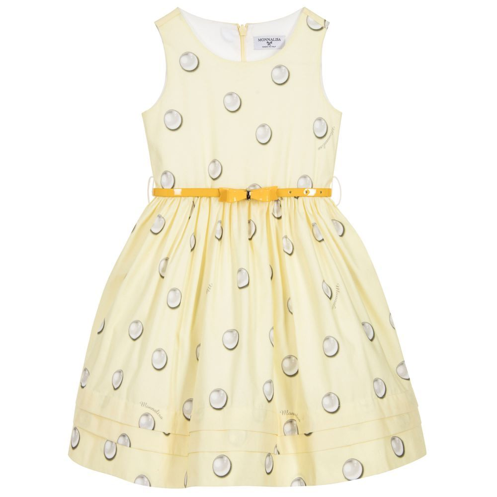 Yellow dress kids  Girls pretty pale yellow sleeveless dress by Monnalisa Bimba made