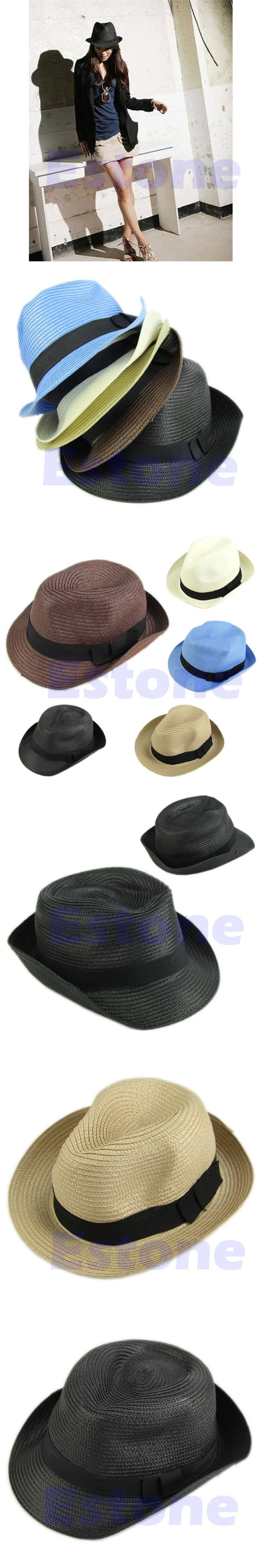 af31d356ef6e4 Women Men Summer Style Child Sun hat Beach Sunhat Fedora hat Trilby Straw  panama Hat boy