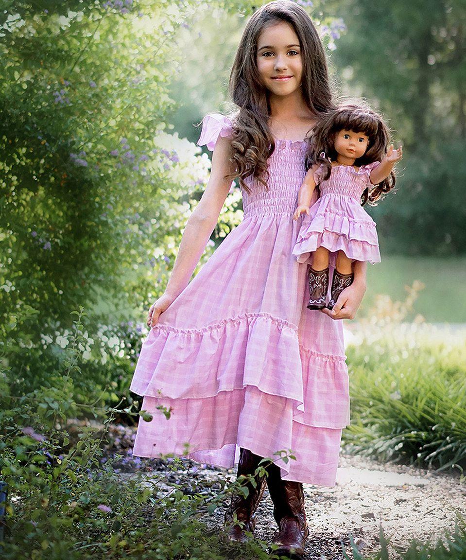 This Lilli Lovebird Soft Pink Plaid Angel Dress & Doll Outfit - Kids & Tween by Lilli Lovebird is perfect! #zulilyfinds
