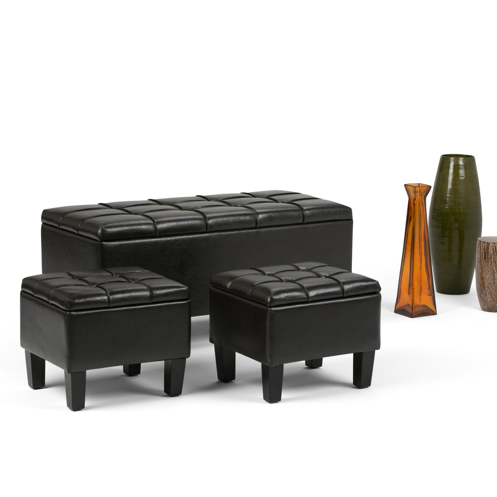 Super Simpli Home Dover 3 Piece Faux Leather Storage Bench And Ibusinesslaw Wood Chair Design Ideas Ibusinesslaworg