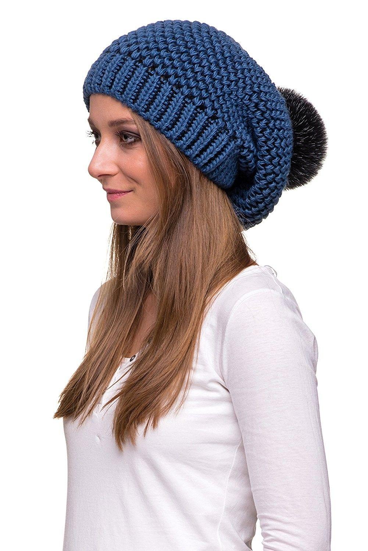 8c37418c26d Women s Winter Slouchy Oversize Beanie Pom Pom Knit Hat - Navy Blue ...