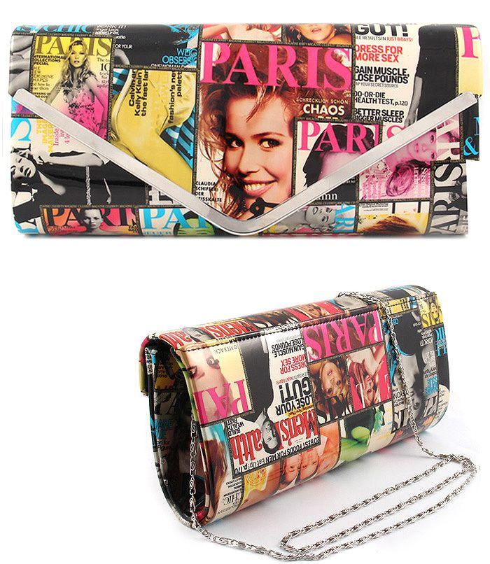 Magazine Print Front Page Clutch Handbag Purse With V Abfabulous Fashion