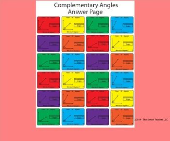This is a 24 card game of I have who has. Students look at different angles and find the complementary angle. Several things make my games unique. One is that I have an answer page that shows all 24 cards on it that one person holds so that if the game gets stuck that person can help move it along.