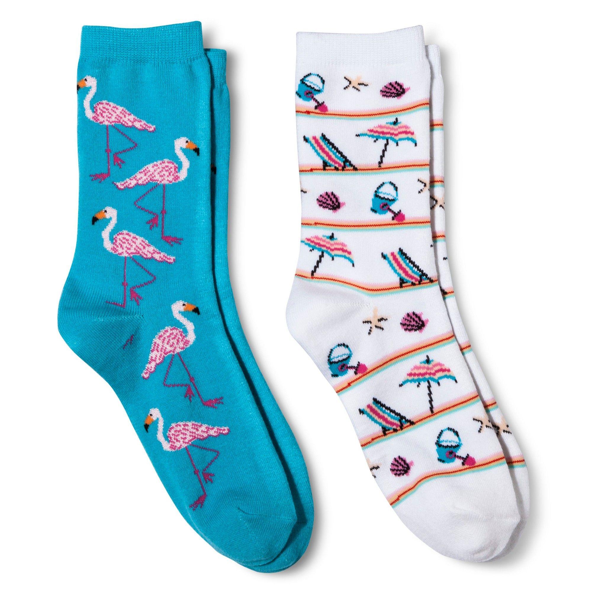 Davco Women\'s 2-Pack Fun Socks Flamingoes/Beach Stuff - Turquoise ...