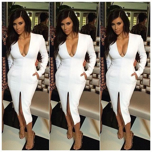 white long sleeve low cut dress