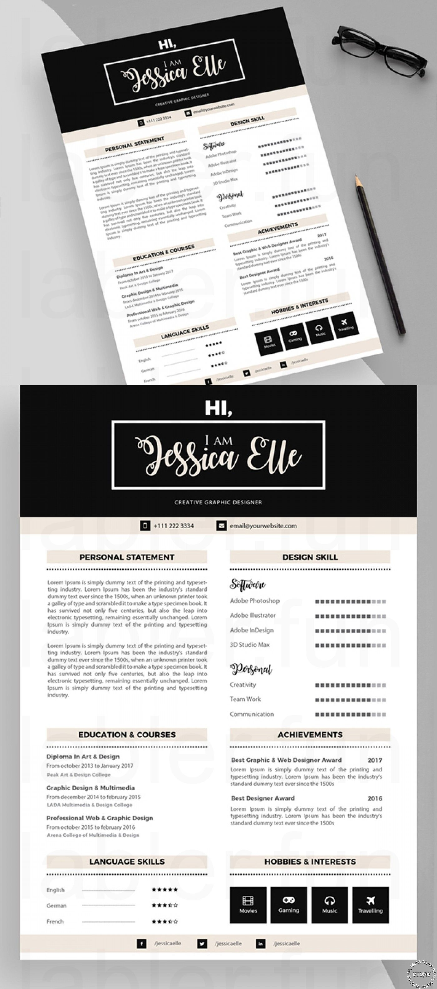 Graphic Design Resources For Beginning Designers Cv Resume Template Resume Template Free Resume Design Template