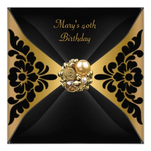 50th Birthday Party Elegant Black Gold Jewel Card 50 birthday