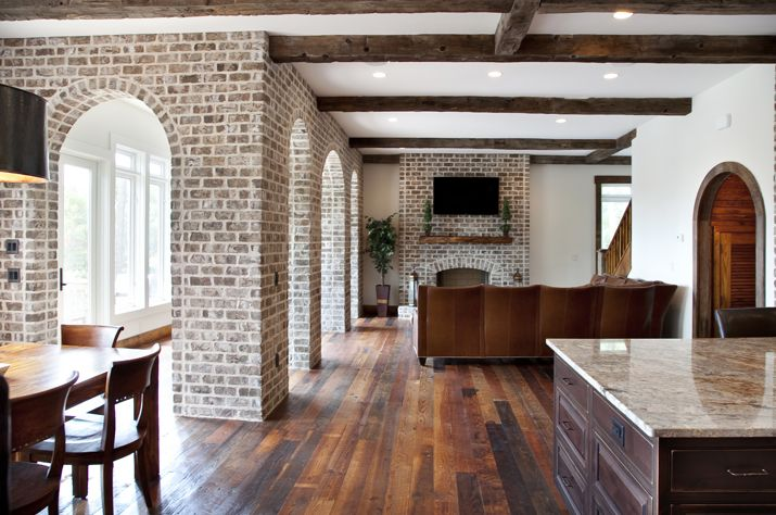 Savannah grey genuine handmade thin brick interior for Interior brick veneer cost