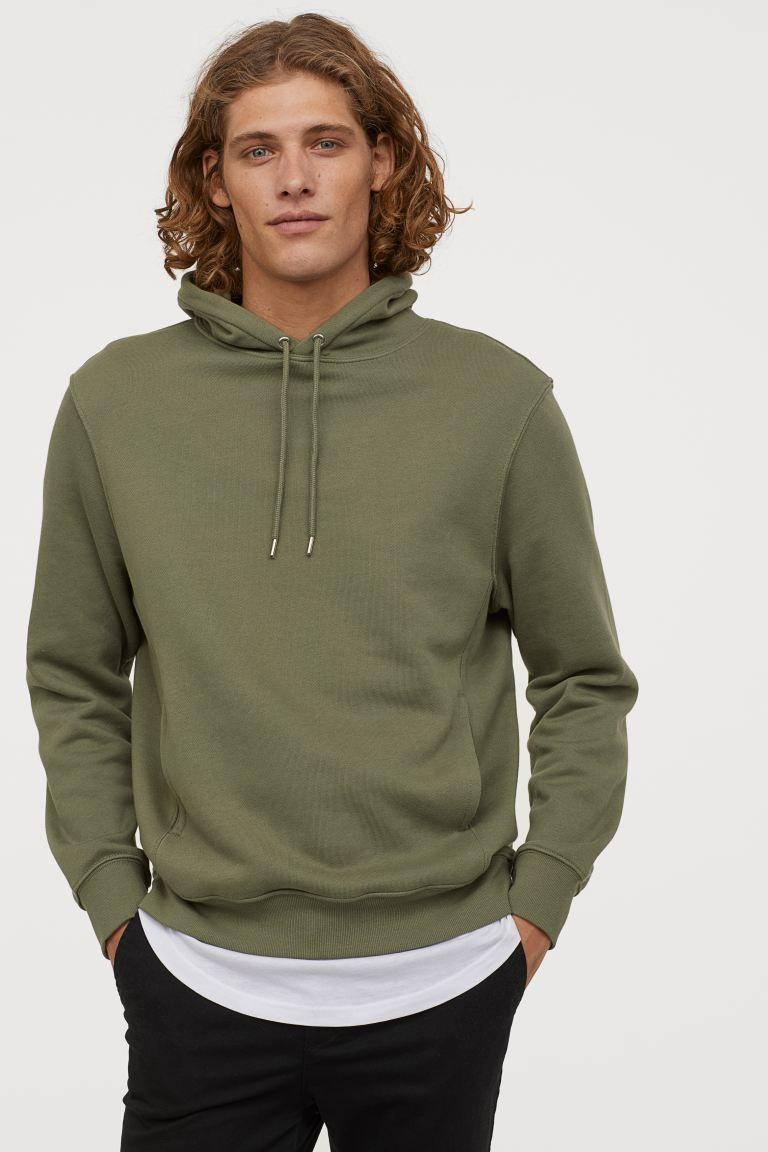 Regular Fit Hoodie Khaki Green Men H M Us Green Hoodie Men Hoodies Workout Hoodie [ 1152 x 768 Pixel ]