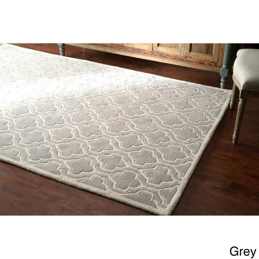 nuLOOM Hand-tufted Lattice Wool Rug (5' x 8') (Grey), Size 5' x 8'