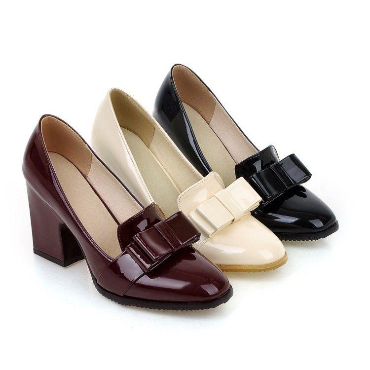 Elegant Women/'s Mid Block Heel Shoes Pumps Slip On Bowknot Round Toe Casual Hot
