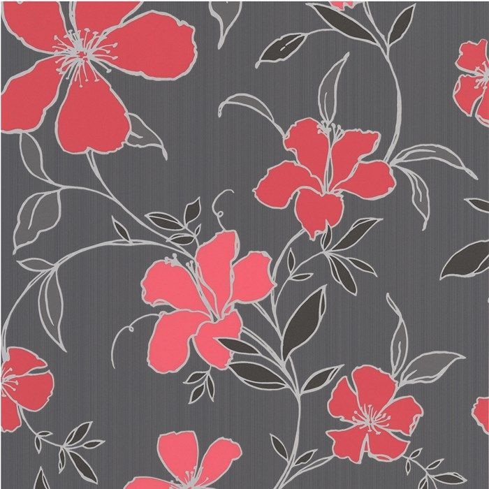 A Classic Floral Wallpaper Design In A Vibrant Black And Red Colour  Palette, A Great Choice If You Are Looking To Make A Real Impact On Your  Wall.