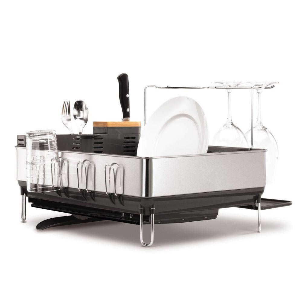 Best Simplehuman Steel Frame Dish Rack With Wine Glass Holder 400 x 300