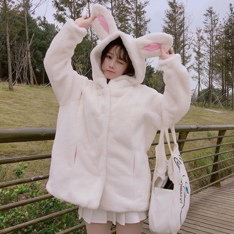 41ad9a49f9 White cartoon bunny ear fuzzy hoodie coat SE10951 Use coupon code   cutekawaii for 10% off