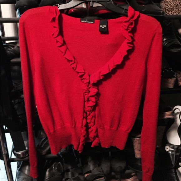 Bright red ruffled cardigan sweater. Really soft and comfy red ...