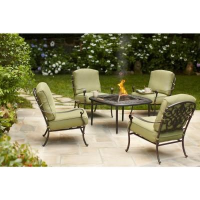 Hampton Bay Edington 5 Piece Patio Fire Pit Chat Set With Cushion