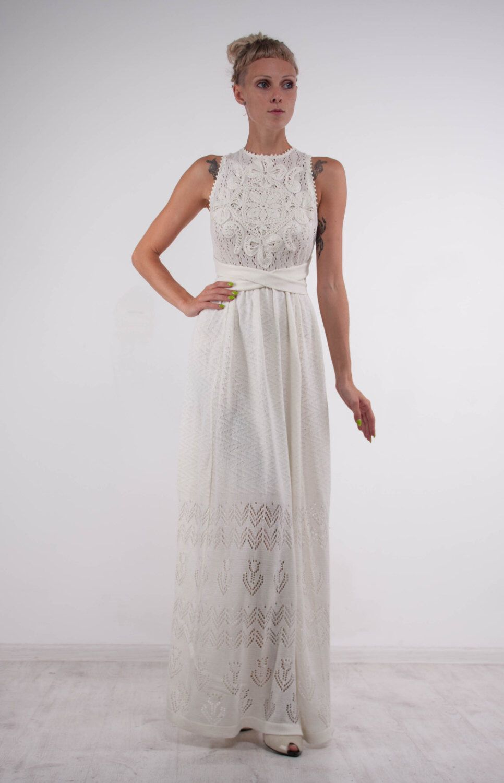 Crochet ivory dress knit wedding maxi dress openback viscose dress