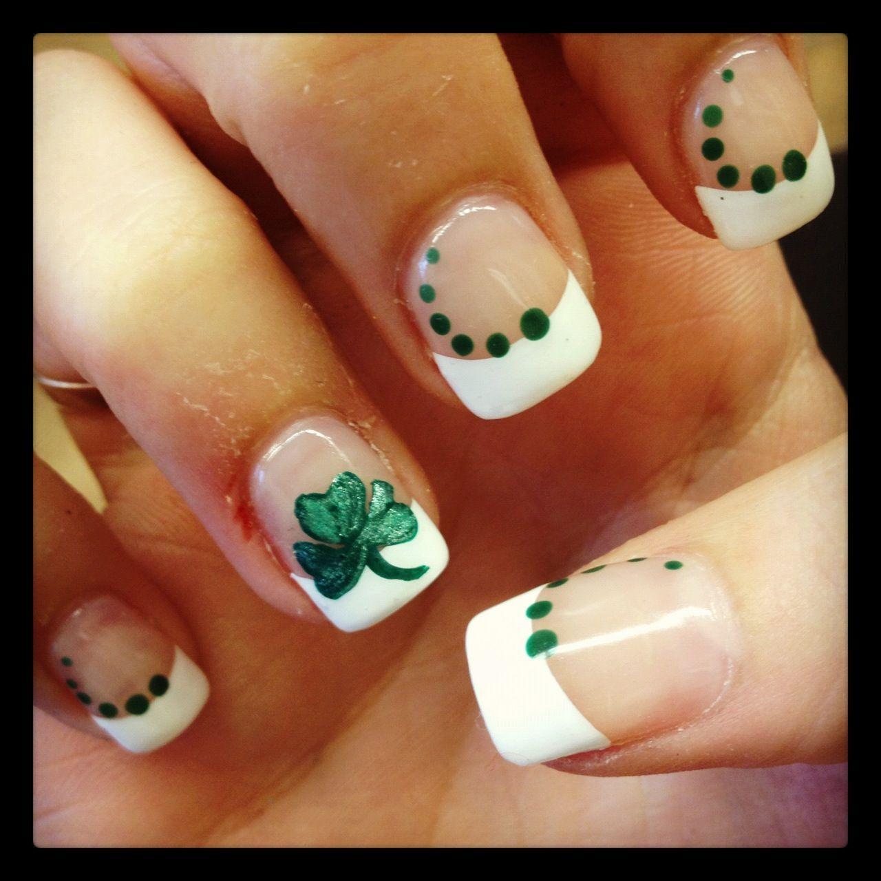 Shamrock nails French Tip Nail Designs, French Nail Art, French Tip Nails,  Nail - Shamrock Nails Irish Nails, Nail Designs, Nail Art
