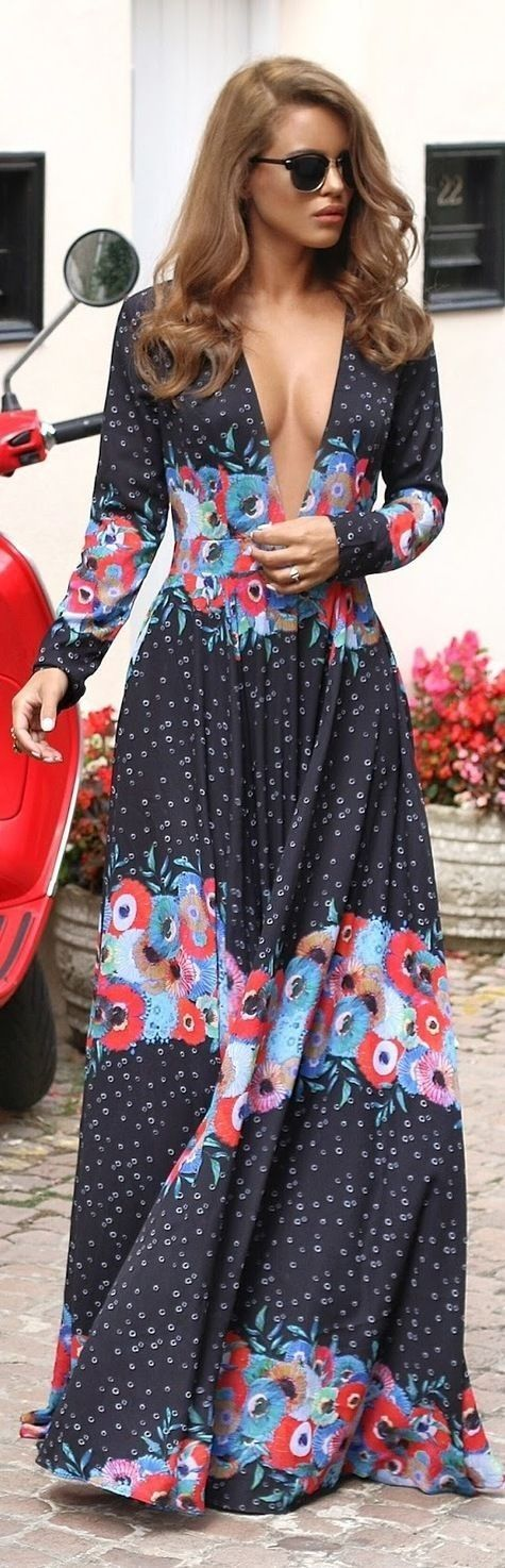 #street #style #spring #2016 #inspiration | Plunging Print Maxi Dress | Nada Adellè                                                                             Source