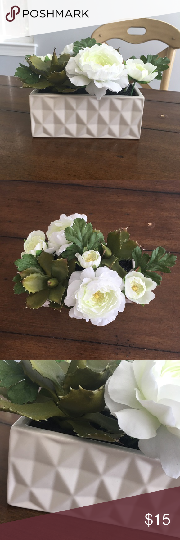 """Faux Flowers Succulent Geometric Potted Plant Well used condition. Measures 7"""" L x 4"""" W x 6"""" H. 🐶 Comes from a smoke-free, but not pet-free home. ➡️ Offers welcomed. 🚫 No trades. No holds. 📦 Fast shipping! 👰🏻 Saving up for my wedding, so considering all reasonable offers! Other"""