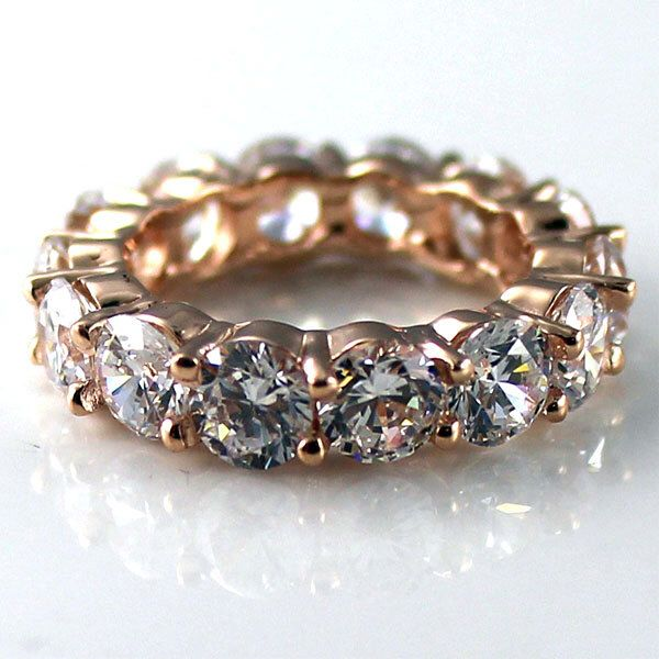 R01160 14K solid rose gold 5mm round prong set eternity band ring by ElegantFingers on Etsy https://www.etsy.com/listing/218683334/r01160-14k-solid-rose-gold-5mm-round