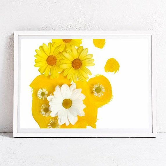 yellow daisy flower photography, baby girl room floral decor ...