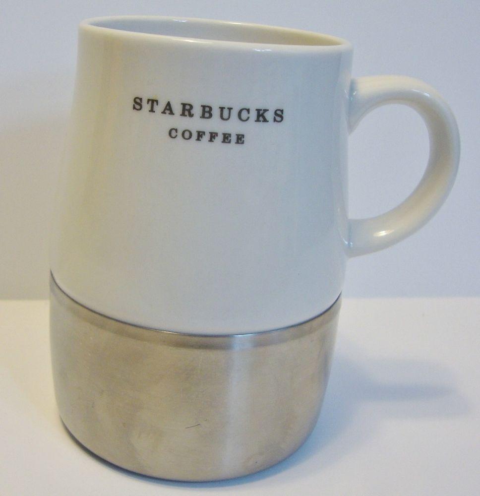 Starbucks Urban Desk Coffee Mug Stainless Steel Base 2006 No Lid 14 Oz White