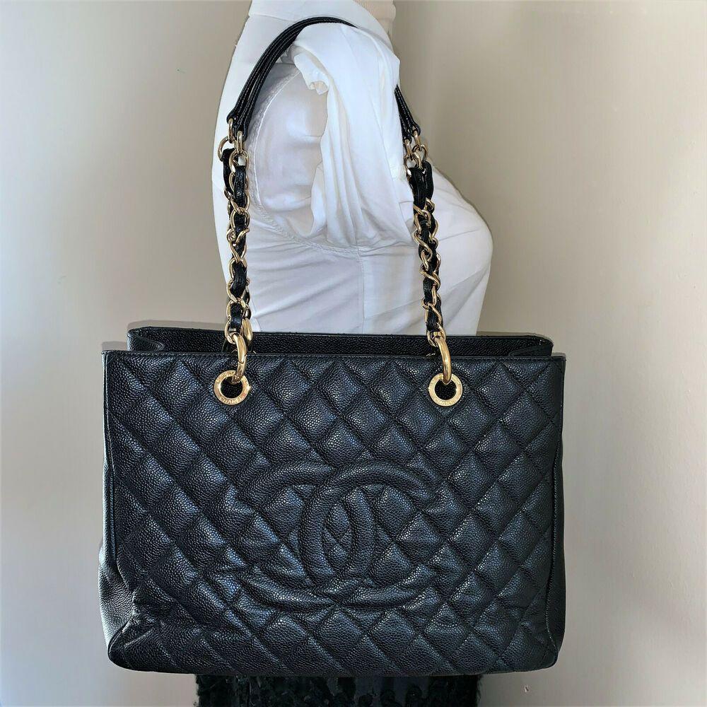da063cb3f1516b Black Caviar Auth CHANEL GST Grand Shopper Shopping Tote Shoulder Bag