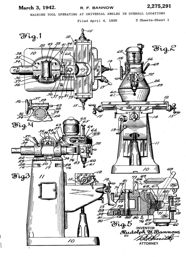 "Patent Drawings for the Bridgeport Knee Mill 1939. ""…that"