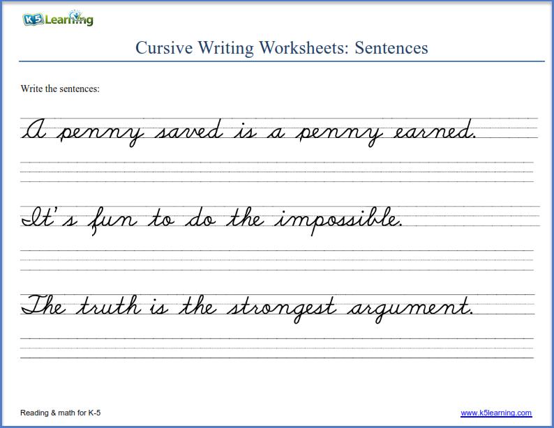 Writing Cursive Sentences Worksheets Free and Printable