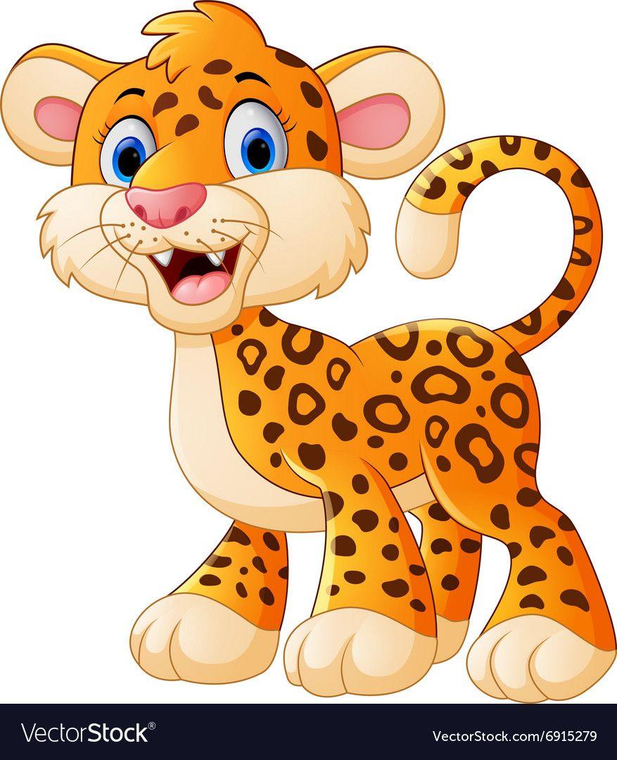 Illustration Of Cute Leopard Cartoon Download A Free Preview Or High Quality Adobe Illustrator Ai Eps Cartoon Clip Art Cute Cartoon Animals Cute Wild Animals