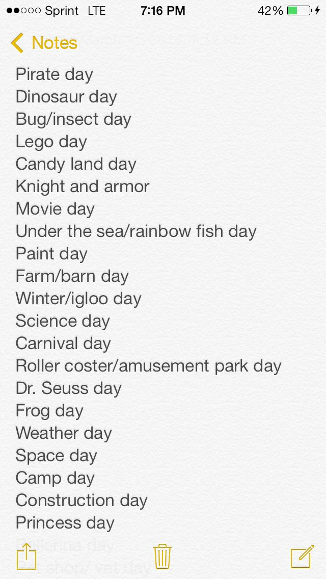 Daycare Kindergarden Theme Day Ideas Daycare Themes