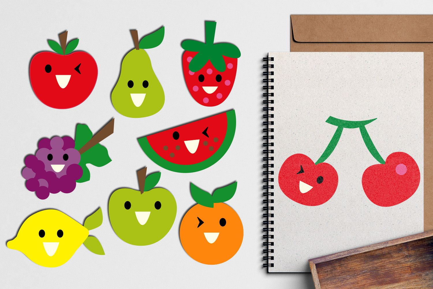 Smile Fruit Faces Clip Art In Bright Colors Apple Pear