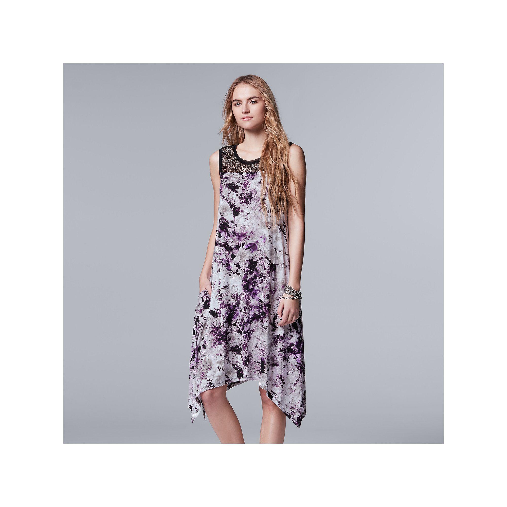 10ba0aff859 Women s Simply Vera Vera Wang Floral Lace Handkerchief Dress ...