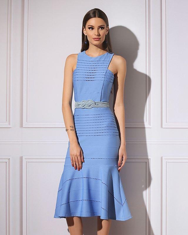 e29401b051  avanzzo  avanzzoMAG  modabrasilia  moda  fashion  midi  pin  azul  blue   vestido ...