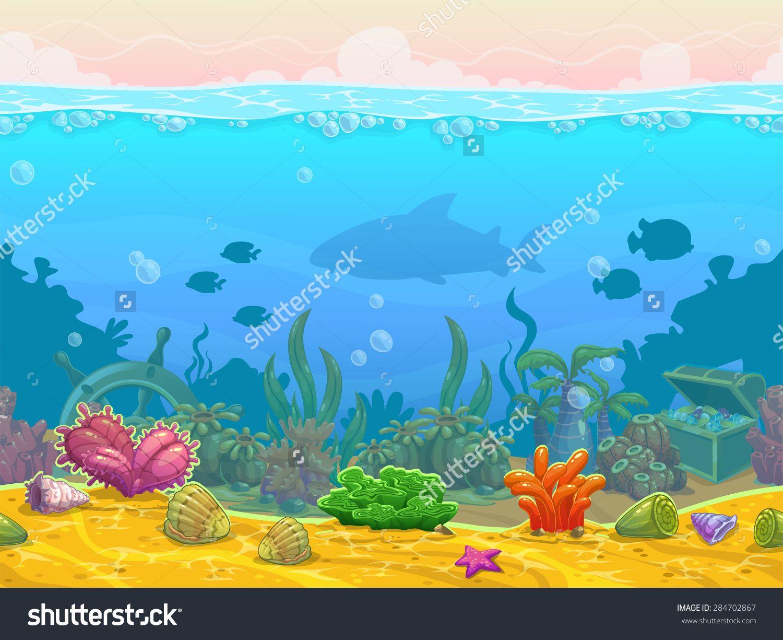 Underwater Seamless Landscape Neverending Vector Bottom Illustration Cartoon Background For Game Design 284702867 Shutte Igrovye Arty Illyustracii Risunki