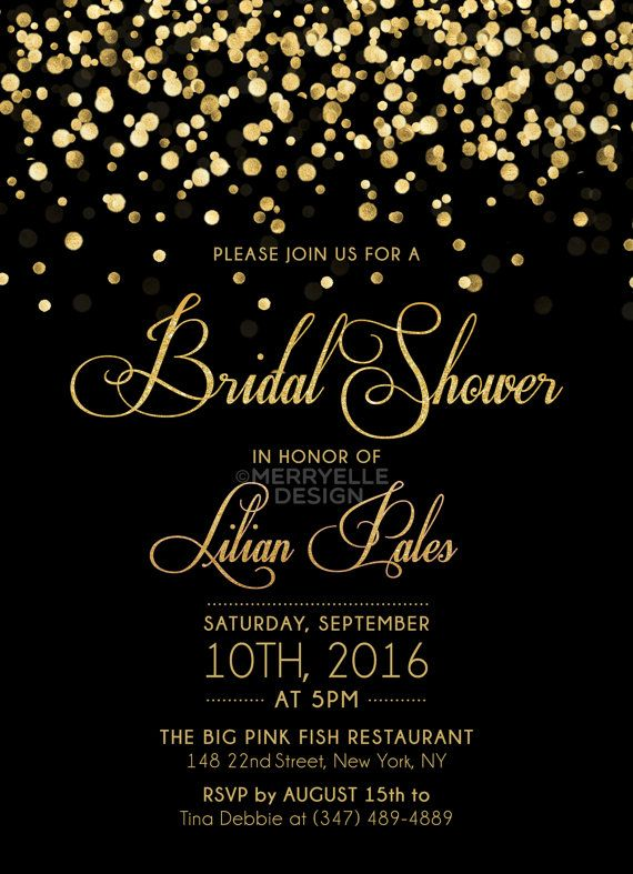 Black And Gold Bridal Shower Invitation Printable Bridal Etsy Black And Gold Invitations Gold Bridal Showers Gold Bridal Shower Invitations