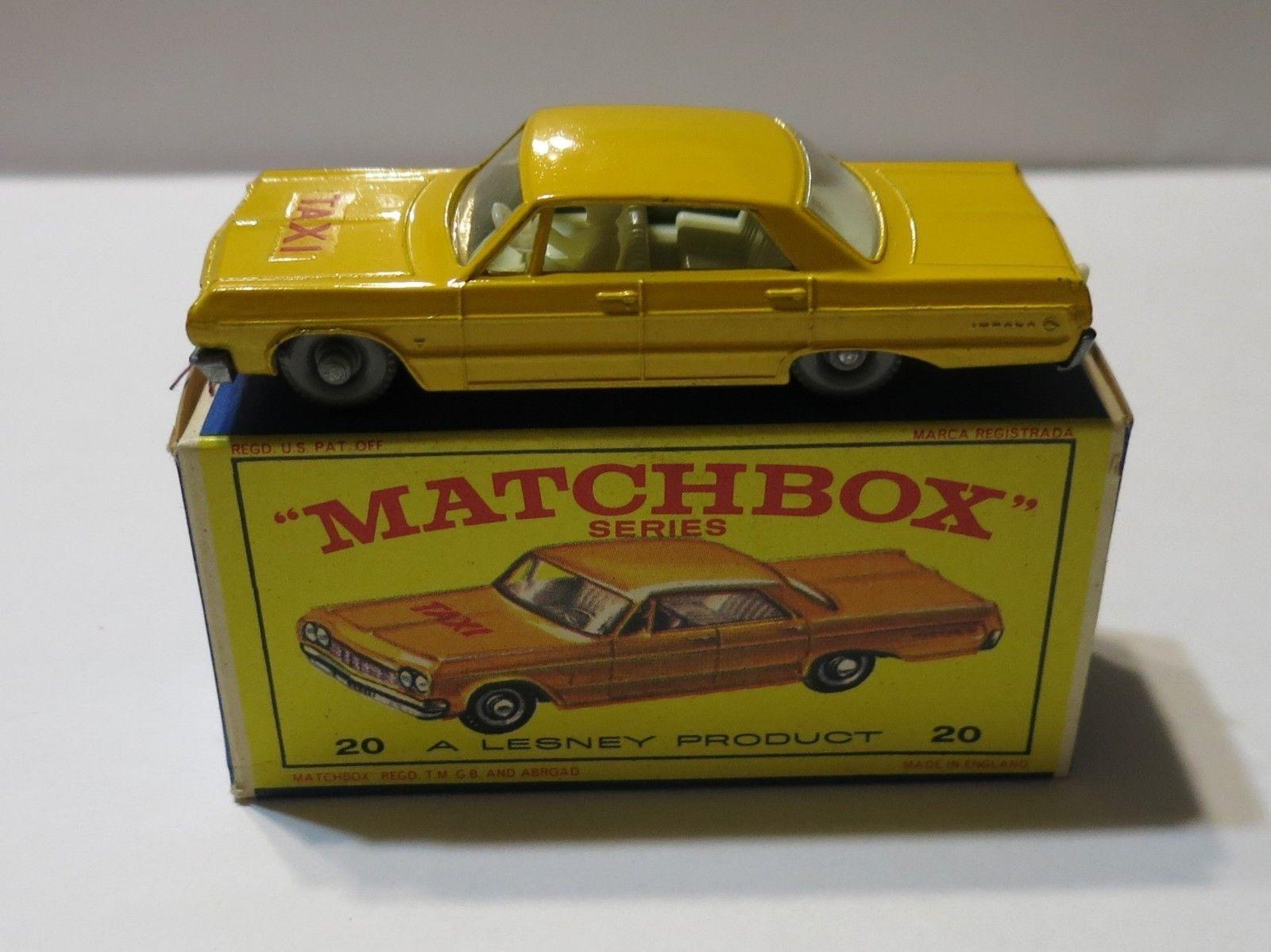 Matchbox Lesney 1965 20c Chevrolet Impala Taxi Super Rare Gpw Vnmib Ebay Chevrolet Impala Matchbox Matchbox Cars