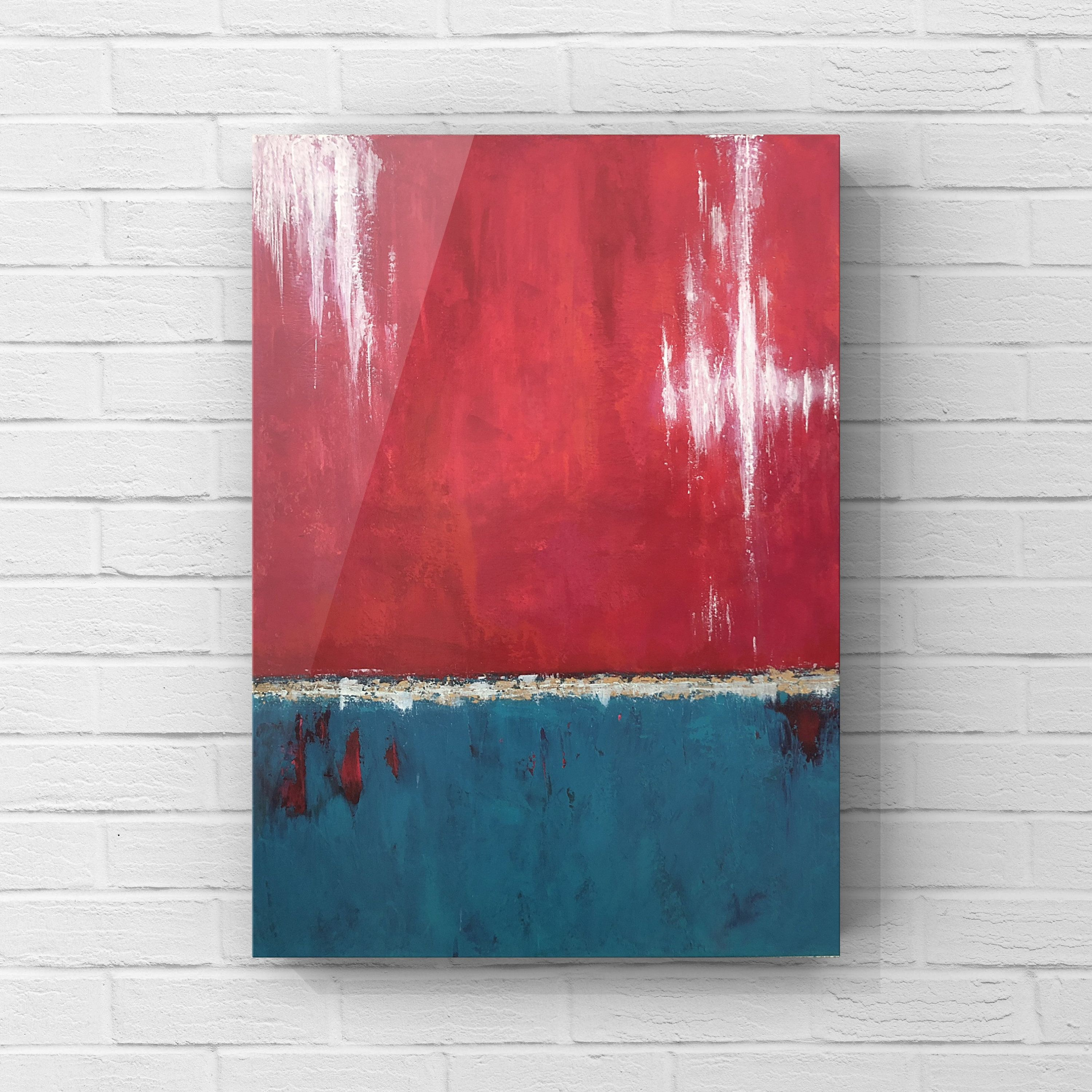Original Abstract Painting 60x80 Cm Ready To Hang Turquoise Red White Modern Wall Art Living Room Decor Painting Wall Art Decor Living Room Modern Wall Art Living Room #paintings #for #decoration #in #living #room