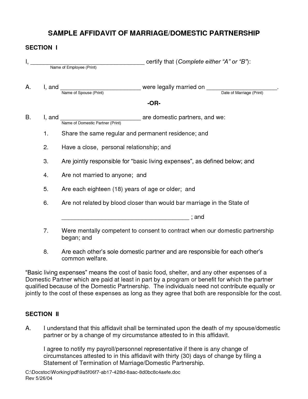 Sample Affidavit Marriage By Iol13865   Marriage Affidavit Template  Affidavit Template Doc