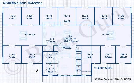 11 stall horse barn floor plan with living quarters for Horse barn layouts floor plans