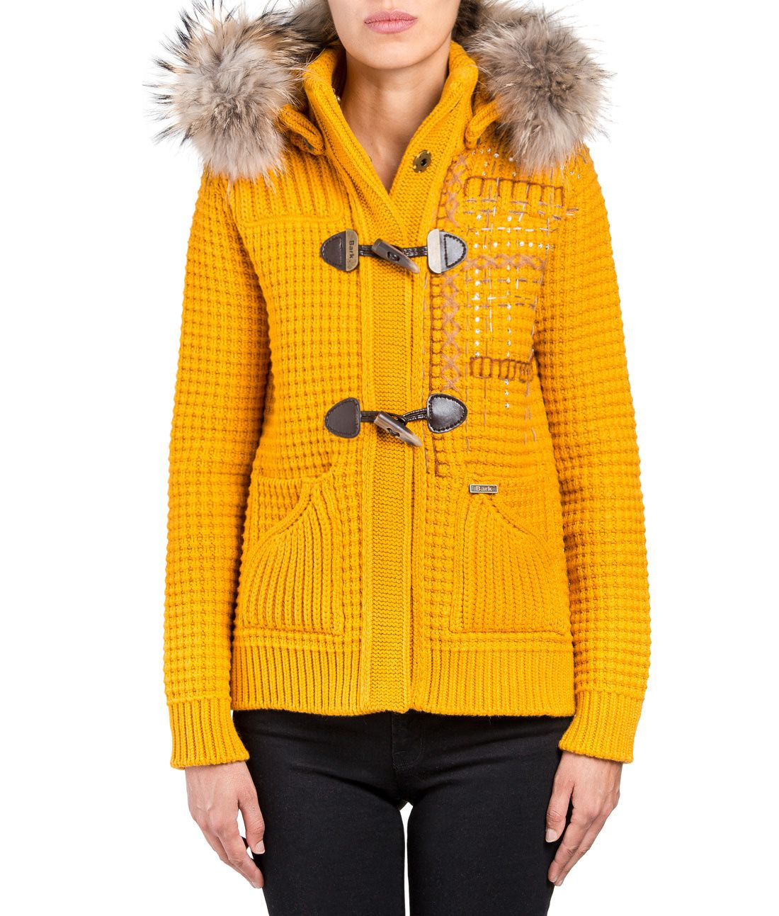 BARK: EMBROIDERED SHORT DUFFLE COAT WITH MOURMASKY MUSTARD | On me ...
