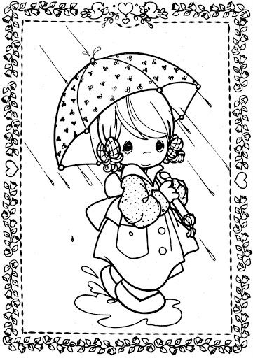 rainy day girl with umbrella precious moments coloring pages